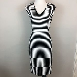 Ann Taylor Black White Striped V Neck Sheath 6